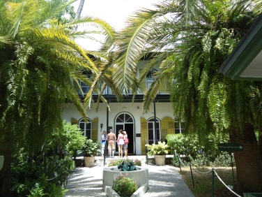 Visitors prepare to enter The Hemingway House in Key West, Florida, in August 2014.
