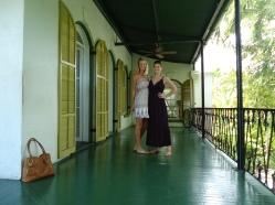 My sister (right) and I (left) on the balcony at The Hemingway House in August 2014