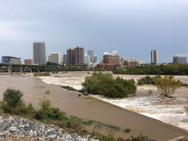 The James River, viewed here from Floodwall Park, is still high from the rain produced by Tropical Storm Matthew.