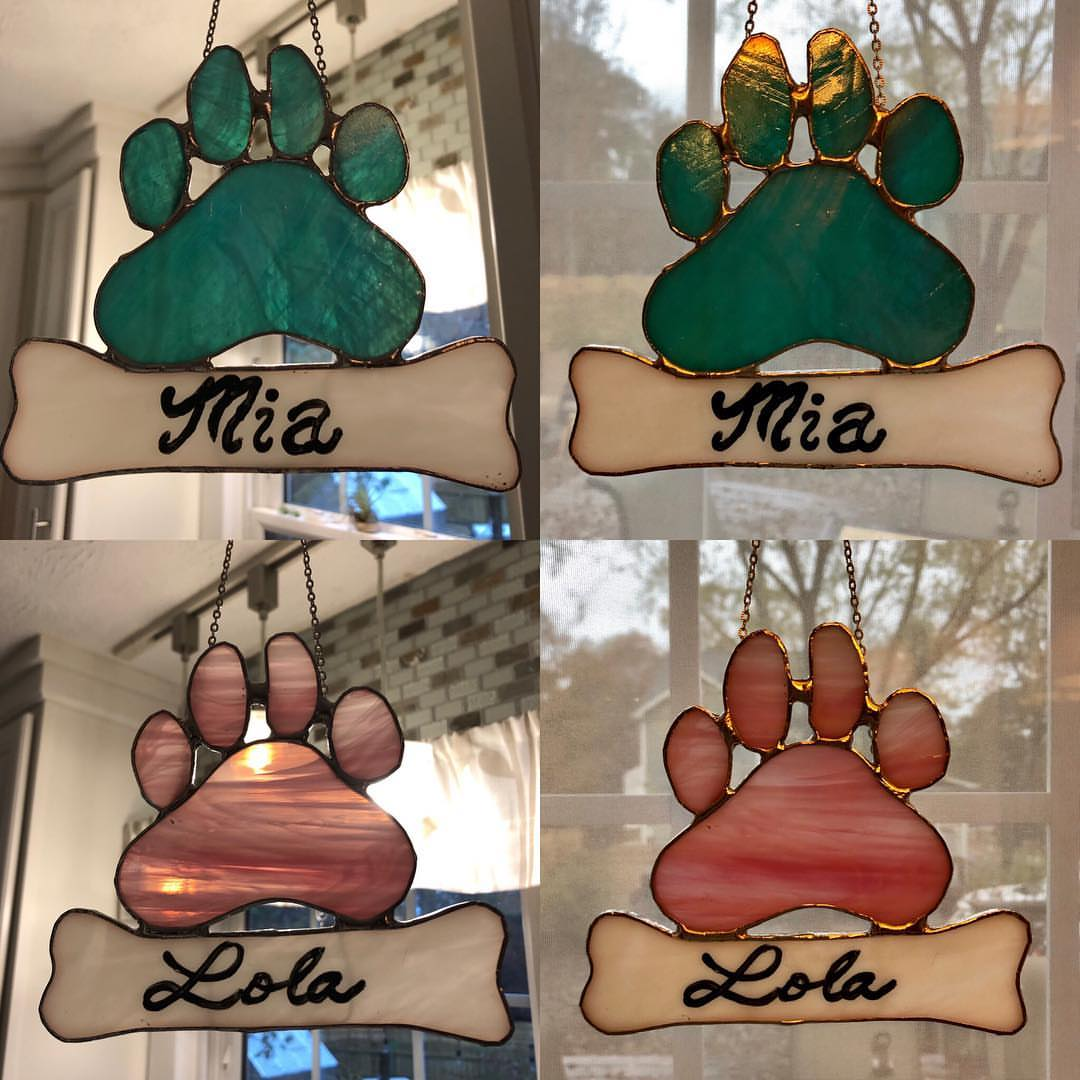 Dog paw stained glass